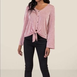 Francesca's Striped Tie Front Blouse Bell Sleeves